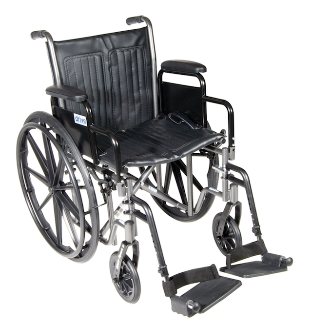 20 Silver Sport 2 Wheelchair with Detachable Desk Arms and Swing Away Footrests