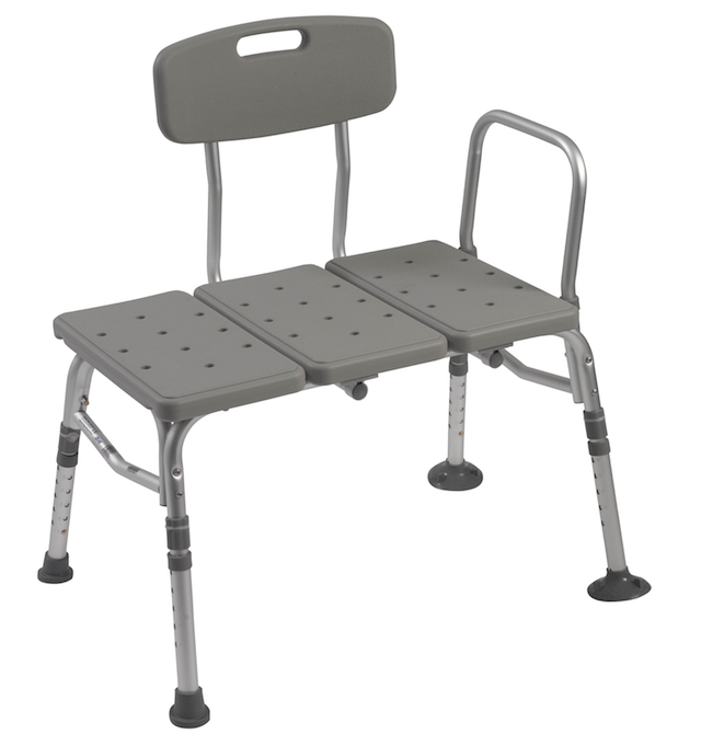 Plastic Tub Transfer Bench with Adjustable Backrest