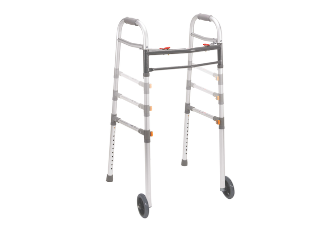 Two Button Folding Universal Walker with 5 Wheels